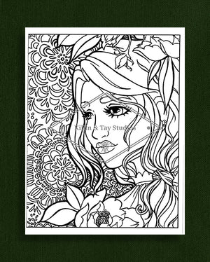 Taking Time to Smell the Flowers: Colouring Page 29
