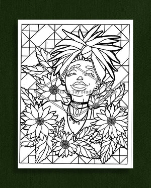 Taking Time to Smell the Flowers: Colouring Page 36