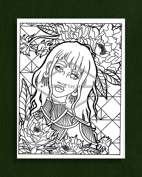 Taking Time to Smell the Flowers: Colouring Page 20