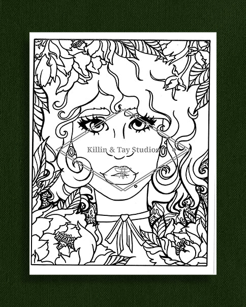 Taking Time to Smell the Flowers: Colouring Page 18