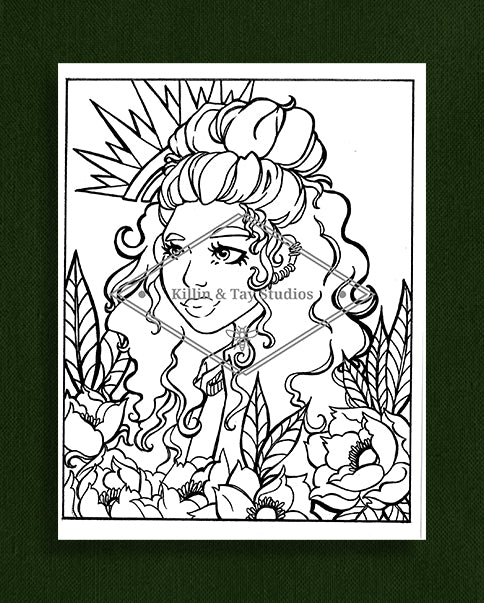 Taking Time to Smell the Flowers: Colouring Page 17