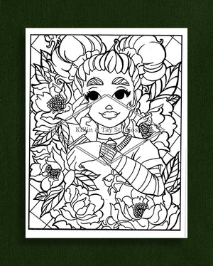 Taking Time to Smell the Flowers: Colouring Page 21
