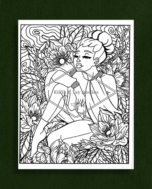 Taking Time to Smell the Flowers: Colouring Page 12