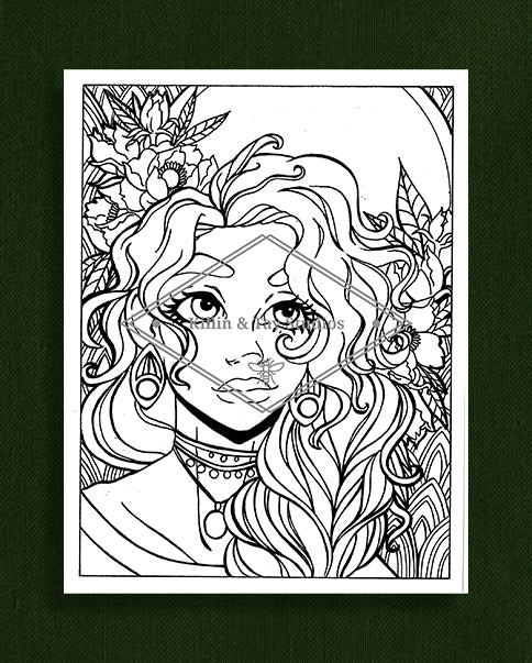 Taking Time to Smell the Flowers: Colouring Page 9