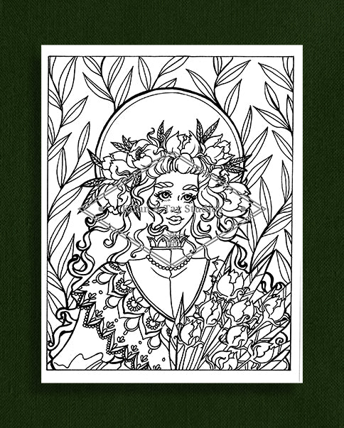 Taking Time to Smell the Flowers: Colouring Page 6