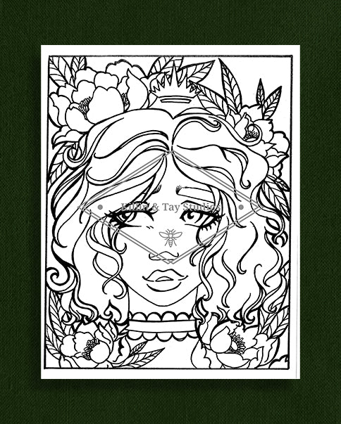 Taking Time to Smell the Flowers: Colouring Page 5