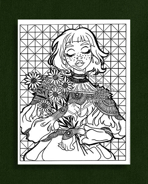 Taking Time to Smell the Flowers: Colouring Page 3