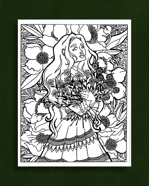 Taking Time to Smell the Flowers: Colouring Page 1