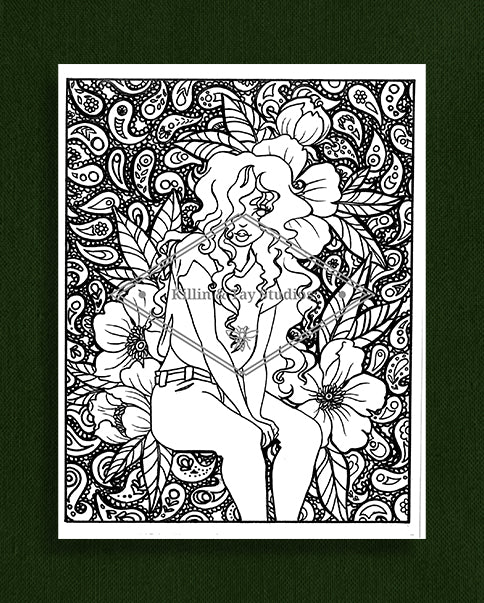 Taking Time to Smell the Flowers: Colouring Page 19