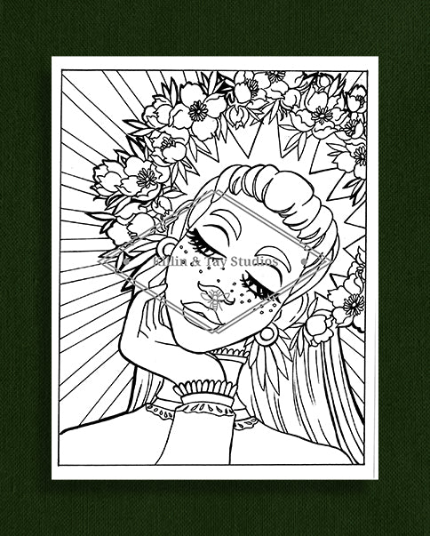 Taking Time to Smell the Flowers: Colouring Page 24