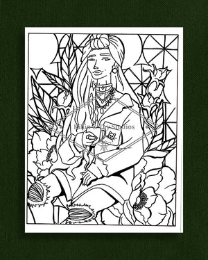 Taking Time to Smell the Flowers: Colouring Page 27