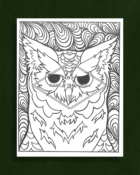 Creatures in Colour: Owl Colouring Page