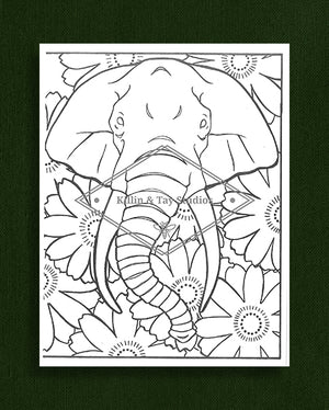 Creatures in Colour: Elephant Colouring Page