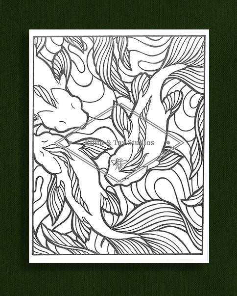 Creatures in Colour: Koi Fish Colouring Page