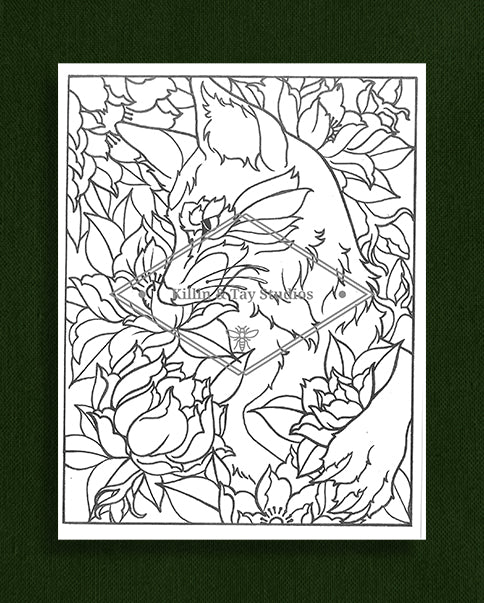 Creatures in Colour: Fox with Flowers Colouring Page