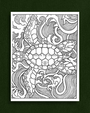 Creatures in Colour: Turtle Colouring Page