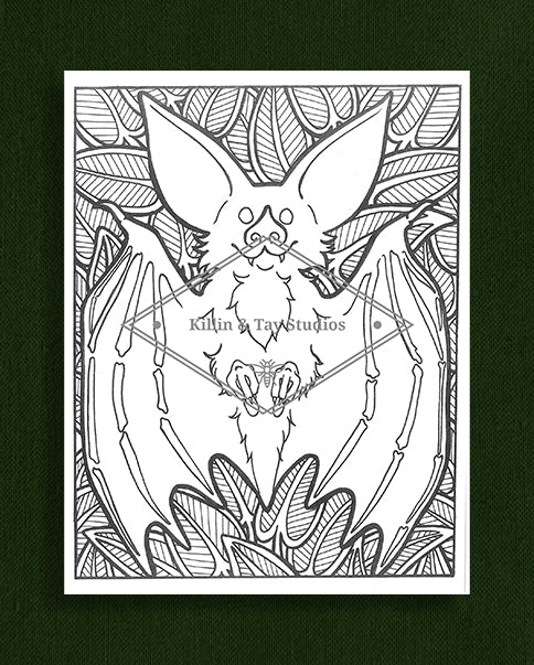 Creatures in Colour: Bat Colouring Page