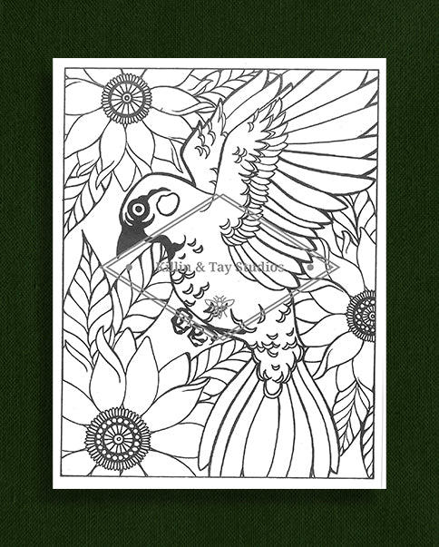 Creatures in Colour: Bird with Sunflowers Colouring Page