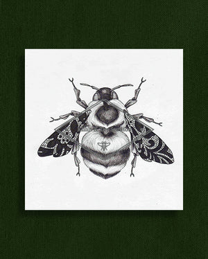 Bee with Lace Wings Original Ink Illustration