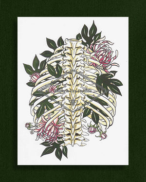 Rib Cage and Flowers Watercolour Print