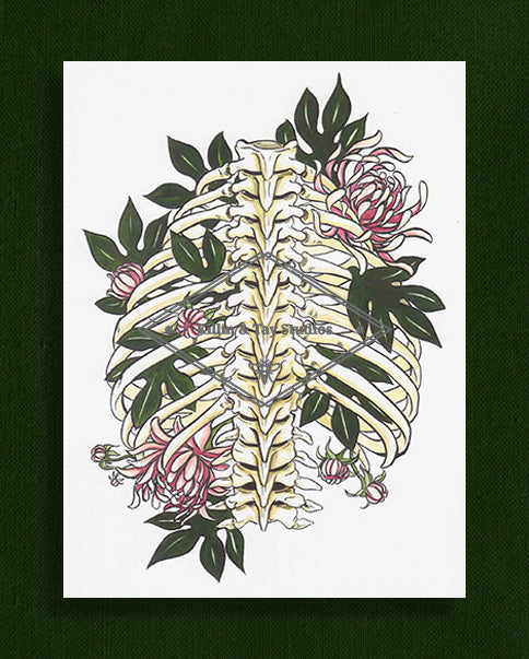 Rib Cage and Flowers Original Watercolour Painting