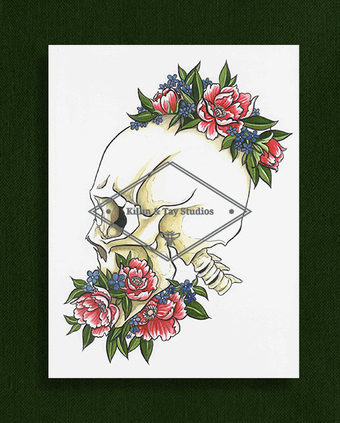 Skull and Flowers Art Print