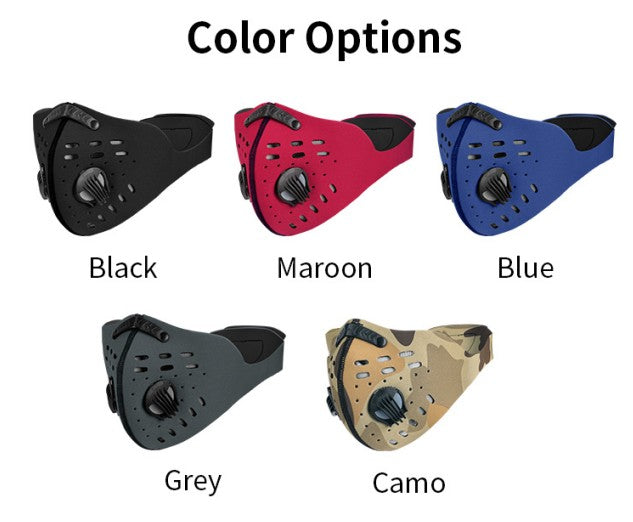 Neoprene mask with activated carbon filter (PM2.5) each filter is packed in OPP bag, then included with mask and valves in a zip-lock bag, each packaging includes one installation instructions. Face mask is washable and reusable.