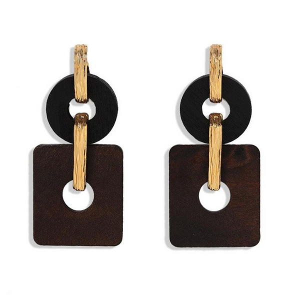 Brielle-  Wooden Brown Gold Earrings