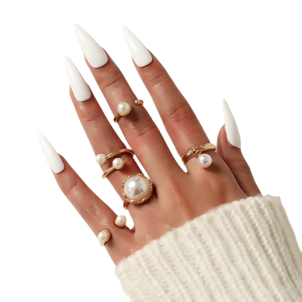 Pearl Gold Ring Set