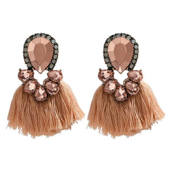 Lauren- Rose Gold Stone Tassel Earrings