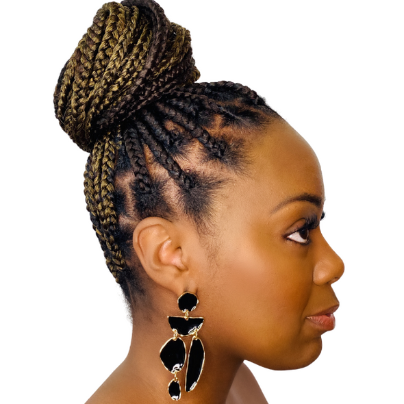 Imani- Retro Geometric Black Gold White Earrings