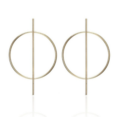 Mya- Gold Circle Simple Geometric Earrings