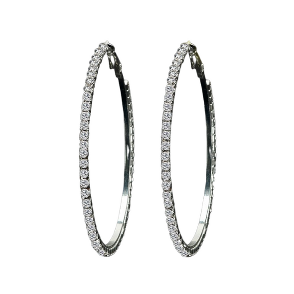 Trina- Medium Gold/Silver Rhinestone Hoops