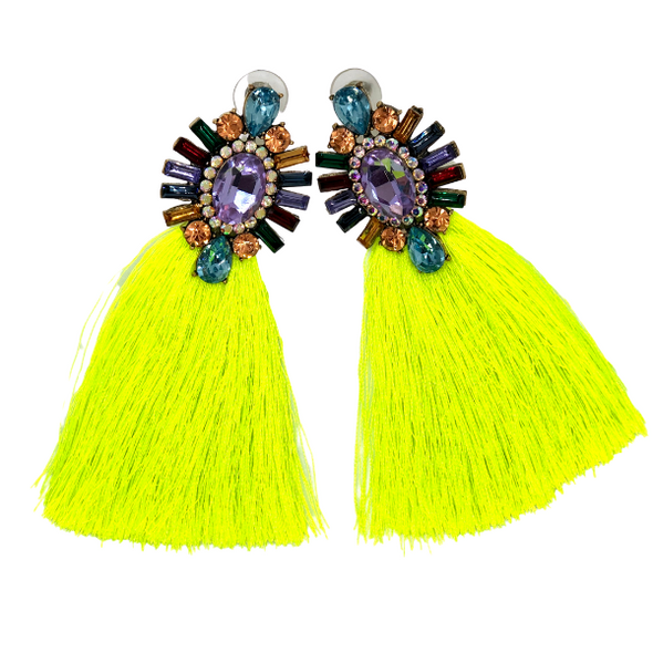 Monique- Neon Green Tassel Gemstones Earrings