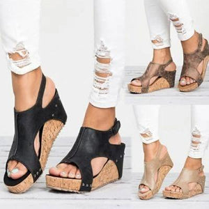 Women's Peep Toe PU Blocking Hook-Loop Wedge Sandals
