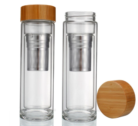 Bamboo Top Glass Travel Mug - The Perfekt Perk