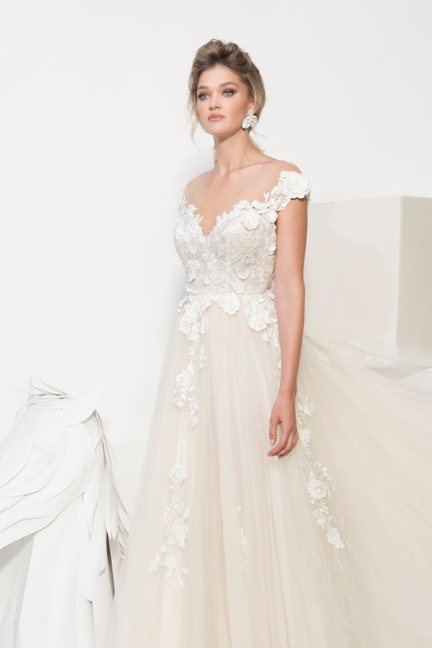 Cara off shoulder wedding gown