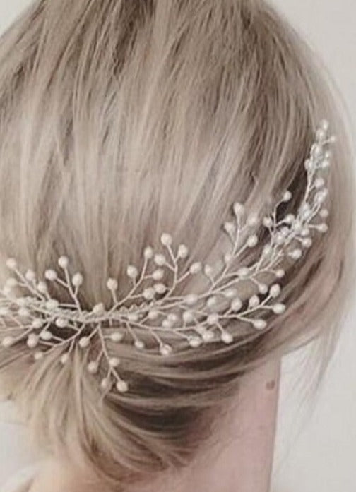 pearls bridal hair comb wedding head piece