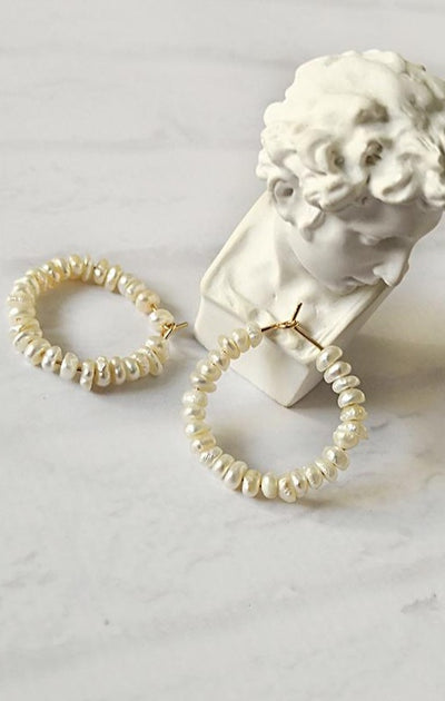 peri box beaded pearl Bridal hoopearrings