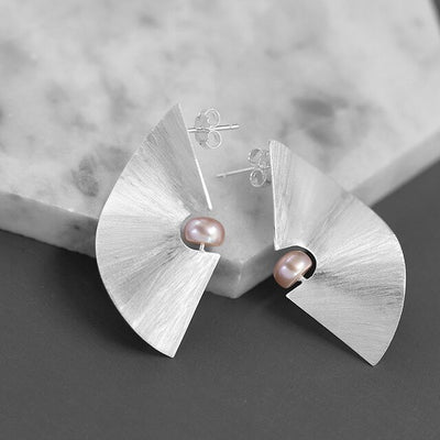 Coral Shaped Pearl Stud Bridal Earrings