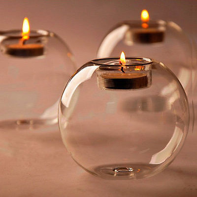 round hollow glass candle wedding holder