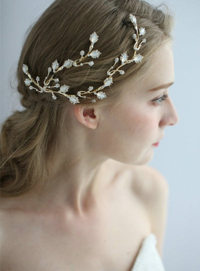 luxury gold color wedding bridal headband