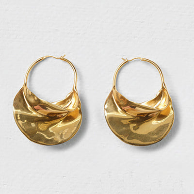 Metal Basket Large Hoop Earrings