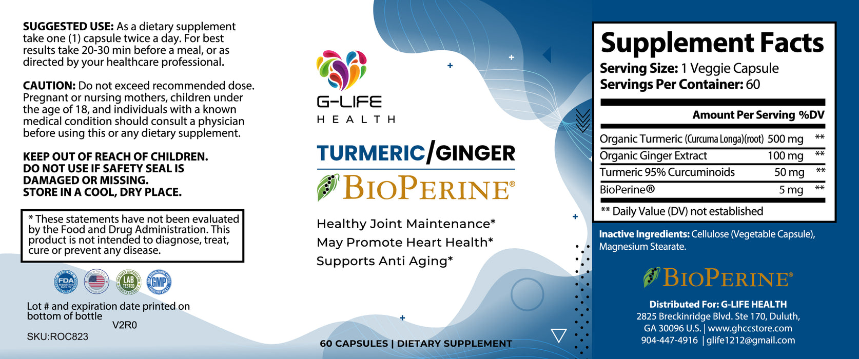G-Life Health Turmeric /Ginger for Joint health