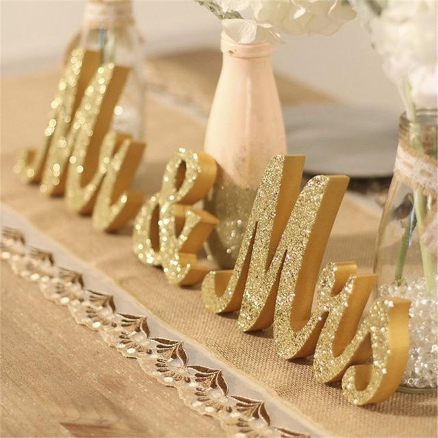 Wedding Golden Mr & Mrs Decor Birthday Party White. Includes shipping - Expressions2u