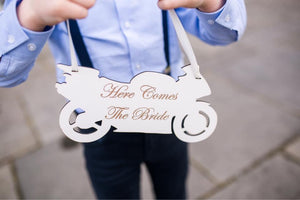 Motorbike Wedding Sign. Includes shipping - Expressions2u