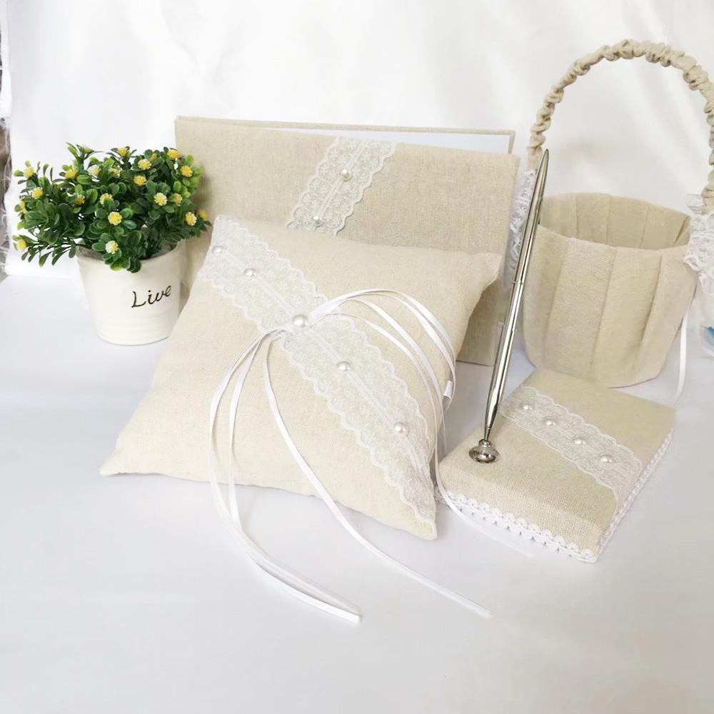 Burlap Wedding Flower Girl Basket Guest Book Pen. Includes shipping - Expressions2u