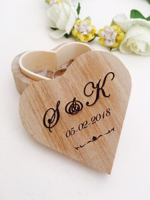 Engraved Rustic Heart Wedding Ring Box. Includes shipping - Expressions2u