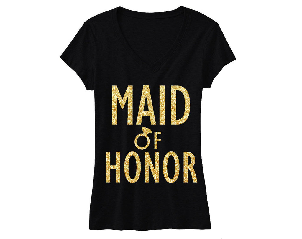 MAID of HONOR Gold GLITTER Bridal Shirt V-neck. Includes shipping - Expressions2u