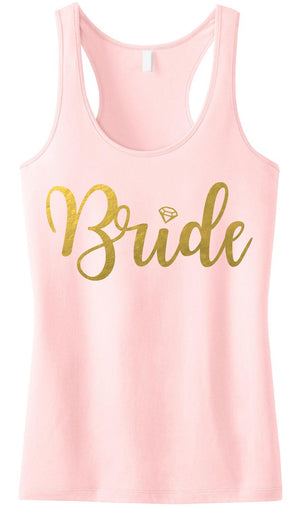 BRIDE BLUSH Tank Top Gold Foil print. Includes shipping - Expressions2u